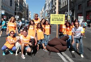 El Refugio planta una caca en plena Gran Vía, para denunciar la actitud de las personas que no recogen las cacas de sus perros