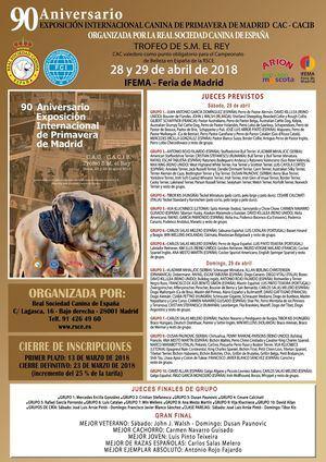 90 Aniversario EXPOSICIÓN INTERNACIONAL CANINA DE PRIMAVERA DE MADRID CAC - CACIB