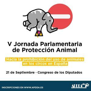 APDDA celebrará su 'V Jornada Parlamentaria de Protección Animal', que tratará sobre la prohibición de animales en circos