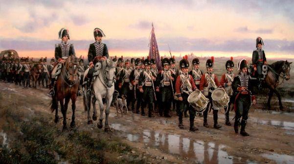 «La Gesta de los Zapadores», de Augusto Ferrer Dalmau, con un Ratonero Bodeguero Andaluz  acompañando al Regimiento Real de Minadores-Zapadores abandonando Alcalá de Henares el 24 de mayo de 1808.